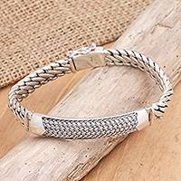 Men's sterling silver wristband bracelet, 'Contemporary Vibe' - Unique Men's Sterling Silver Link Bracelet
