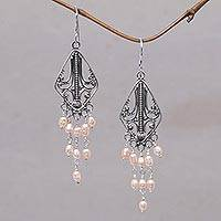 Pearl chandelier earrings, 'Pink Iridescence' - Pearl Sterling Silver Chandelier Earrings