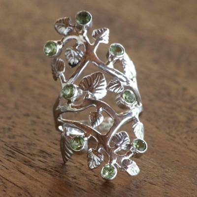 Cocktail Ring with Sterling Silver Leaves and Peridot Fruits