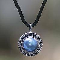 Pearl pendant necklace, 'Blue Indonesian Moon' - Unique Sterling Silver and Pearl Pendant Necklace