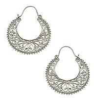 Sterling silver hoop earrings, 'Bali Story' - Sterling Silver Hoop Earrings from Indonesia