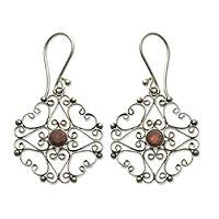 Garnet dangle earrings, 'Scintillating' - Garnet dangle earrings