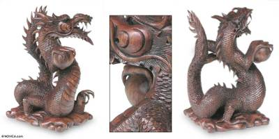 Wood sculpture, 'Dragon with Pearl Ball' - Unique Wood Dragon Sculpture from Indonesia