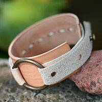 Leather bracelet, 'Sleek Tan' - Handmade Leather Wristband Bracelet