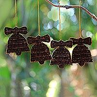 Clove ornaments, 'Festive Bells' (set of 4) - Clove ornaments (Set of 4)