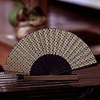 Silk batik fan Golden Rings (Indonesia)