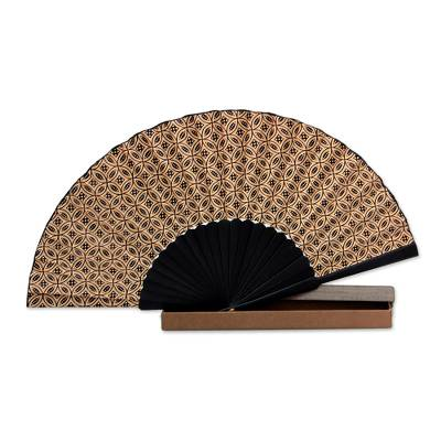 Indonesian Batik Silk Patterned Fan