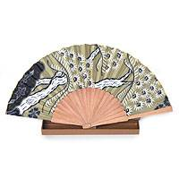 Silk batik fan, 'Tropics' - Handmade Silk Batik Fan