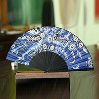 Silk batik fan, 'Deep Blue Blossom' - Indonesian Batik Silk Fan
