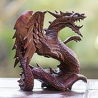 Wood statuette, 'Winged Dragon' - Balinese Hand Carved Wood Dragon Sculpture
