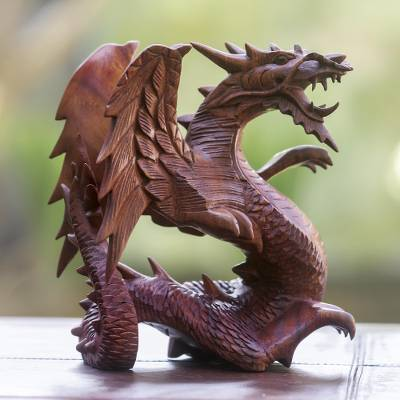 Wood statuette, Winged Dragon