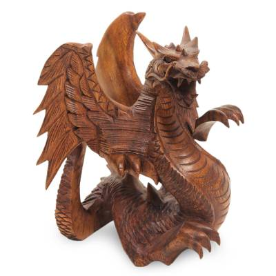 Wood statuette, 'Winged Dragon' - Hand Carved Wood Dragon Sculpture
