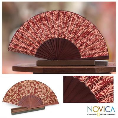 Silk batik fan, 'Burgundy Fern' - Handcrafted Batik Wood Silk Patterned Fan