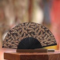 Silk batik fan, 'Ebony Fern' - Unique Floral Batik Silk Fan