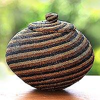 Beaded rattan basket, 'Earth Currents' - Hand Beaded Rattan Basket with Lid