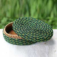 Beaded rattan basket, 'Emerald Forest' - Hand Beaded Green Basket with Lid