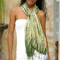 Silk batik scarf, 'Royal Java Green' - Hand Made Floral Silk Batik Scarf
