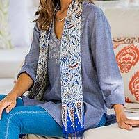 Featured review for Silk batik scarf, Royal Java Blue