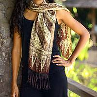 Silk batik scarf, 'Harmony' - Handmade Silk Batik Scarf