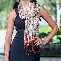 Silk batik scarf, 'Budding Jasmine' - Floral Silk Batik Scarf