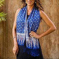 Silk batik scarf, 'Awakening'