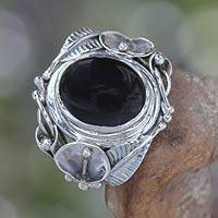 Onyx flower ring, 'Nest of Lilies' - Women's Floral Sterling Silver and Onyx Cocktail Ring