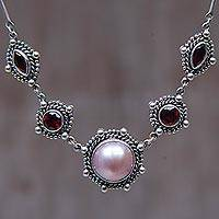 Pearl and garnet choker, 'Passion Moon' - Pearl and garnet choker