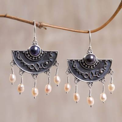 Pearl dangle earrings, 'Exotic Fans' - Sterling Silver Pearl Chandelier Earrings