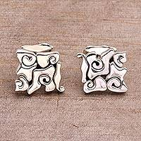Sterling silver cufflinks, 'Bali Clouds' - Sterling silver cufflinks