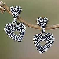 Sterling silver heart earrings, 'Javanese Hearts' - Sterling silver heart earrings