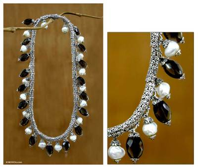 Pearl and smoky quartz necklace, 'Java Contrasts' - Pearl and smoky quartz necklace