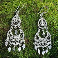 Sterling silver chandelier earrings, 'Illusion'