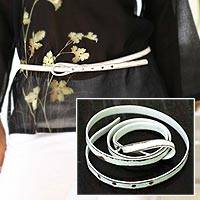 Distressed leather belt, 'White Lasso' - Distressed leather belt