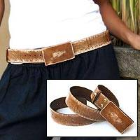 Distressed leather belt, 'Brown Bridge' - Distressed leather belt