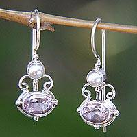 Amethyst and pearl drop earrings, 'Sunrise Spirit' - Sterling Silver Amethyst Drop Earrings