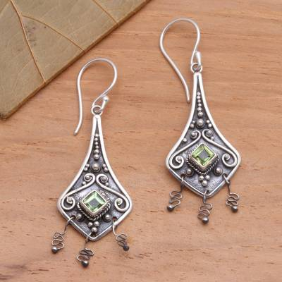 Peridot dangle earrings, Lantern