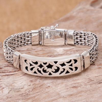 Men's sterling silver pendant bracelet, 'Balinese Knight' - Men's Sterling Silver Link Bracelet