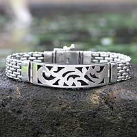 Featured review for Mens sterling silver pendant bracelet, Balinese Hero