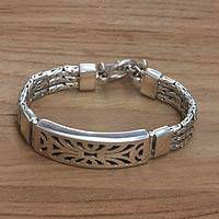 Sterling silver wristband bracelet, 'Spectacular'