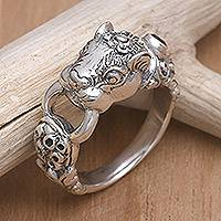 Garnet men's ring, 'Silver Tiger' - Men's Artisan Crafted Sterling Silver Ring