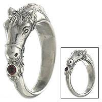 Men's garnet ring, 'Spirited Horse'