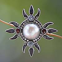 Pearl and topaz brooch pin pendant, 'Four Winds' - Pearl and topaz brooch pin pendant