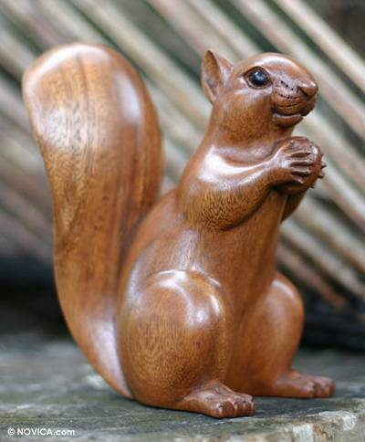 Wood sculpture, 'Squirrel with an Acorn' - Artisan Crafted Wood Sculpture