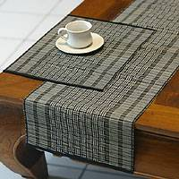 Mendong table runner and placemats, Monochrome Grid (set for 4)