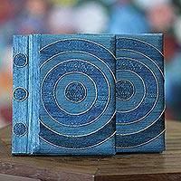 Natural fiber notebooks, 'Hypnotic Blue' (pair) - Handmade Natural Fiber Journals (Pair)