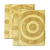 Natural fiber notebook, 'Hypnotic Yellow' (pair) - Natural fiber notebook (Pair)