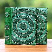 Natural fiber notebooks, 'Hypnotic Turquoise' (pair) - Rice Paper Notebooks (Pair)