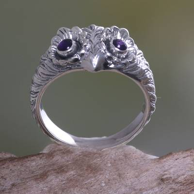 Amethyst ring, 'Owl Wisdom' - Amethyst and Silver Bird Ring