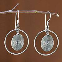 Sterling silver dangle earrings, 'On Target' - Sterling silver dangle earrings