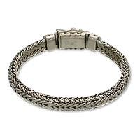 Men's sterling silver braided bracelet, 'Open Mind'